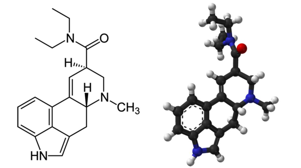 En variant av molekylstrukturen för LSD. Bild: Wikipedia Creative Commons