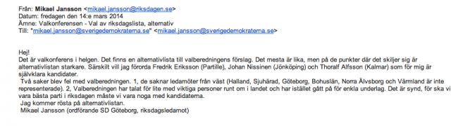 Det interna mejlet Mikael Jansson skickat inom partiet