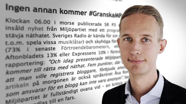 André Assarsson bloggar om att granska MP. Foto: Montage