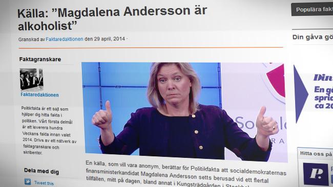 Politikfakta tycks skriva vad som helst. - Faksimil från politikfakta.se