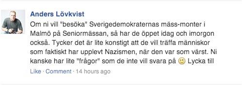 """Här uppmanar Moderaten Anders Lövkvist RevFront till """"besök"""" av Sverigedemokraterna"""