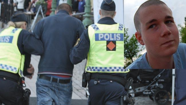 Robin Hassel (inklippt i bild) såg Izabella misshandlas under det stökiga torgmötet. Foto: Privat / Patrik Hassel