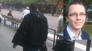 Mannen till vänster ska ha spottat på Tobias (inklippt i bilden). Foto: Privat