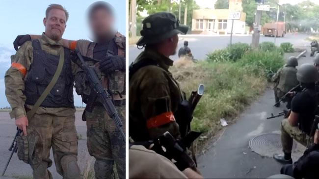 Mikael Skillt (till vänster i bägge bilder) uppger att han ingår i Ukrainas armé. Foto: Privat / Youtube