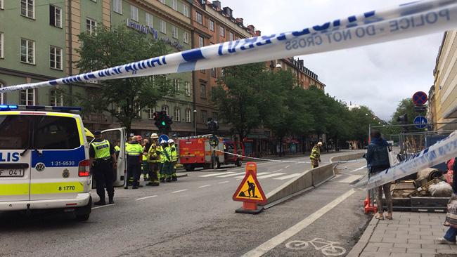 Avspärrning på Sveavägen. - Foto: Nyheter Idag