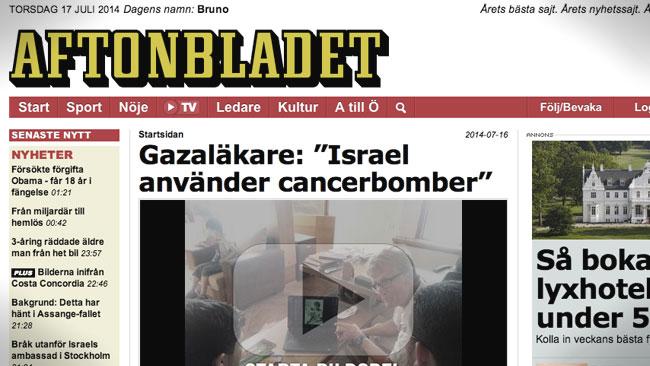 Gazaläkaren visade sig vara en revolutionär socialist. Foto: Faksimil aftonbladet.se