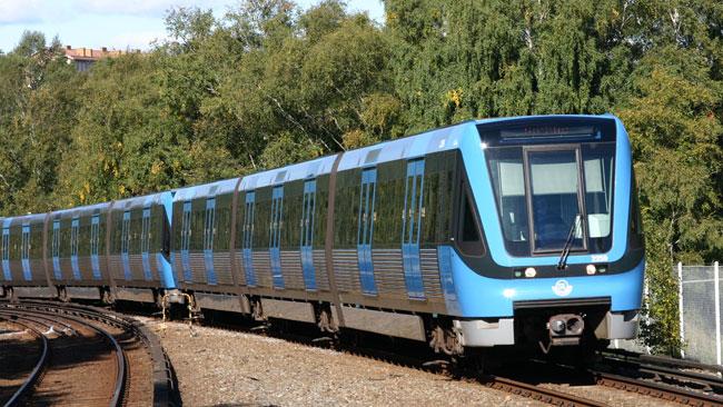 Tåg i Stockholms tunnelbanenät. Foto: Melker Larsson / Pressbild Stockholms läns landsting