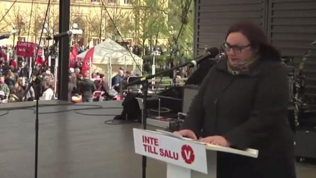 Lundquist talar på första maj 2014 i Vänsterpartiets regi. Foto: Faksimil Youtube