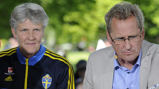 Pia Sundhage och Eric Hamrén var på plats hos Tv4 i Almedalen. Foto: Sven Pernils / Nyheter Idag