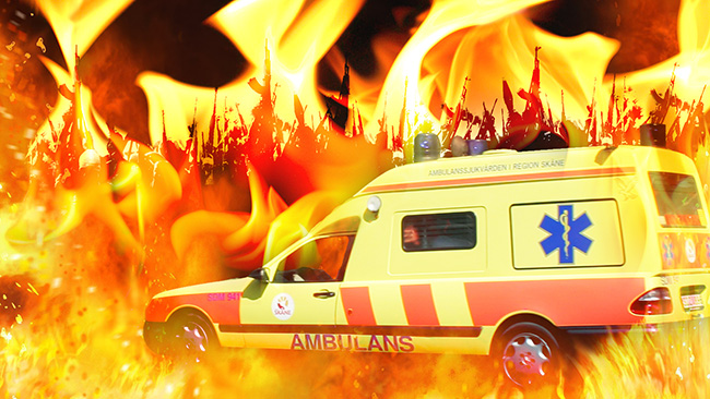 Det är inte lätt köra ambulans. Montage: Nyheter Idag