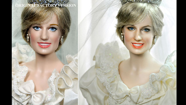 Stor skillnad när Noel målat om dockan av Lady Diana