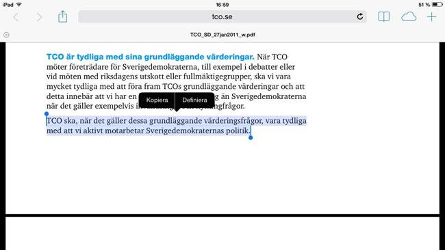Såhär förhåller sig TCO till Sverigedemokraterna. Foto: Faksimil tco.se