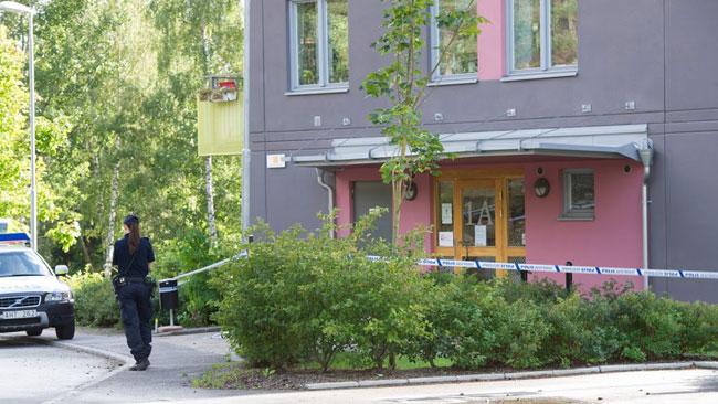 Det var ett stort område som spärrats av. Foto: Sven Pernils / Nyheter Idag