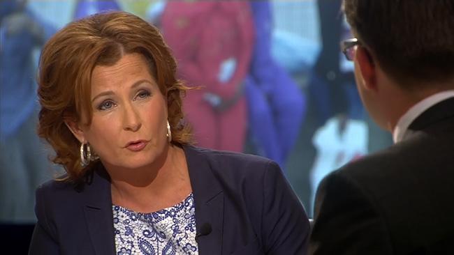Anna Hedenmo frågar ut Jimmie Åkesson i SVT. Foto: Faksimil svt.se