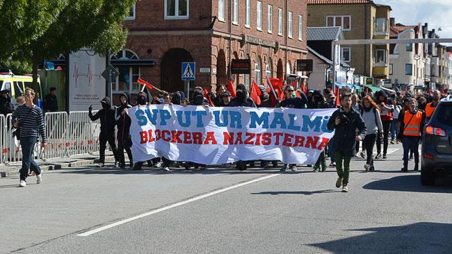 Motdemonstranterna hade mobiliserat mot det högerextrema svenskarnas parti. Foto: Fritz Schibli / TOPNEWS.se