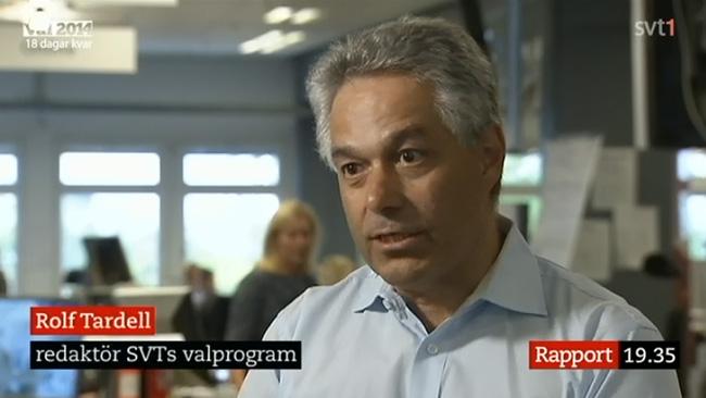 """Rolf Tardell hävdar i ett inslag i rapport att tjänstemannen ifråga är """"opolitisk"""". Foto: Faksimil svt.se"""