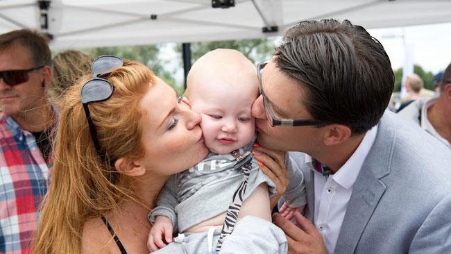 Hela familjen Åkesson var på plats i Sölvesborg. Foto: Sven Pernils / Nyheter Idag