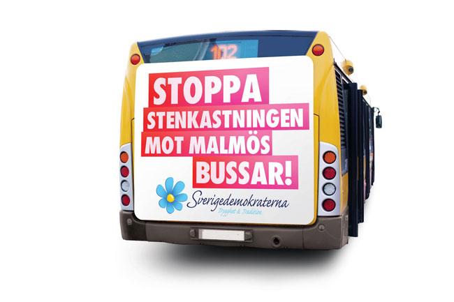 Det nya kampanjförslaget som stoppats av Skånetrafiken. Montage: Sverigedemokraterna
