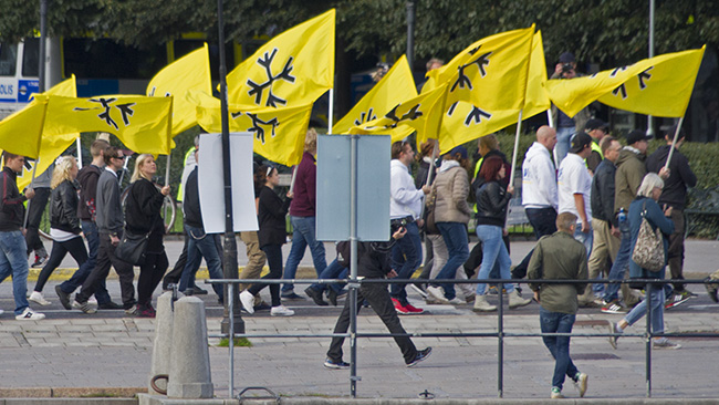 Nazister en vanlig lördagseftermiddag. Foto: Jakob Bergman / Nyheter Idag