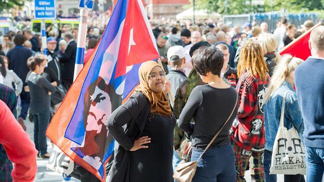 De flesta var vanliga människor som vile protestera emot SvP. Foto: Sven Pernils / Nyheter Idag