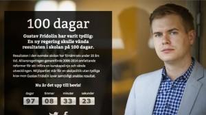 På sajten 100dagar.se klämtar klockan för Fridolin. Foto: Faksimil 100dagar.se