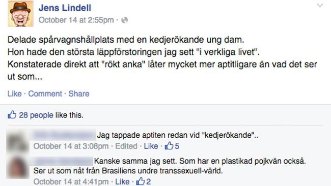 Inlägget av Jens Lindell på Facebook. Foto: Faksmil Facebook
