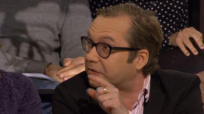 Galleristen Henrik Rönnquist försvarade Dan Park i SVT Debatt. Foto: SVT