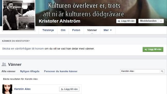 Ahlströms vänskap med intervjuobjektet Kerstin Alex Foto: Faksimil Facebook