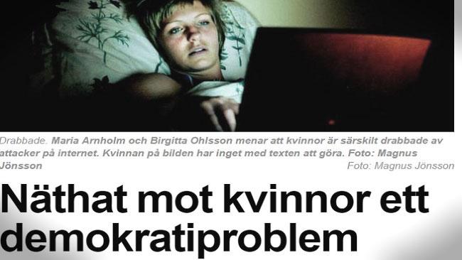 Medier brukar beskriva att näthat främst drabbar kvinnor. Foto: Faksimil / Expressen.se