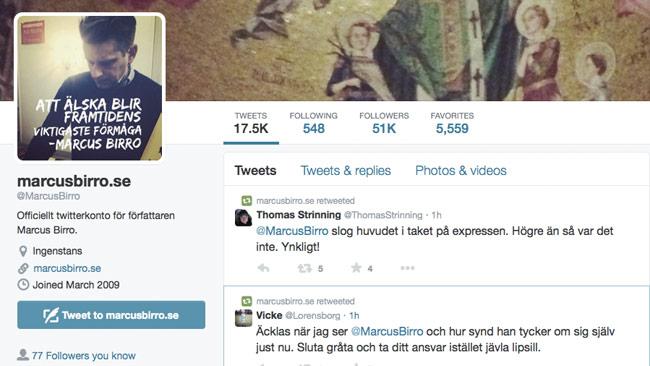 Marcus Birro får utstå mycket näthat på twitter. Foto: Faksimil twitter