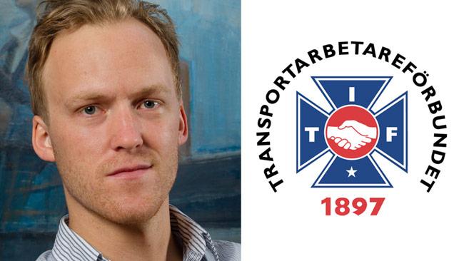 Gabriel Dahlander, pressekreterare hos Transportarbetareförbundet. Bilden är ett montage. Foto: Jan Lindkvist