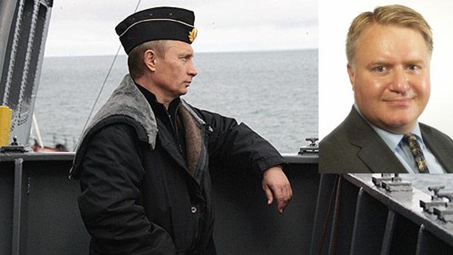 Vladimir Putin till vänster och Mikael Valtersson till höger. Bilden är ett montage.