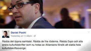 Jimmie Åkessons parti röstade för en budget som nu riskerar slå mot tidsskriften Expo. Bilden är ett montage. Foto: Chang Frick / Faksimil Facebook