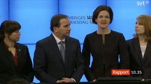 Sex partiledare berättade att de nu kommit överrens och nu undviker ett extraval. Foto: Skärmdump från direktsändning / svt.se