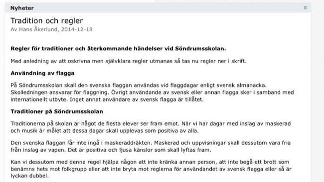 Svenska flaggan får inte användas hur som helst på Söndrumsskolan. Foto: Skärmdump / Privat