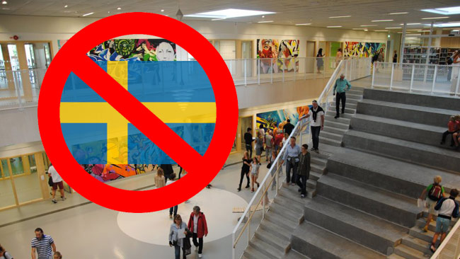 At Söndrumsskolan in Sweden, the Swedish flag is prohibited to use, principal told us. Photo: halmstad.se (graphics made by Nyheter Idag)