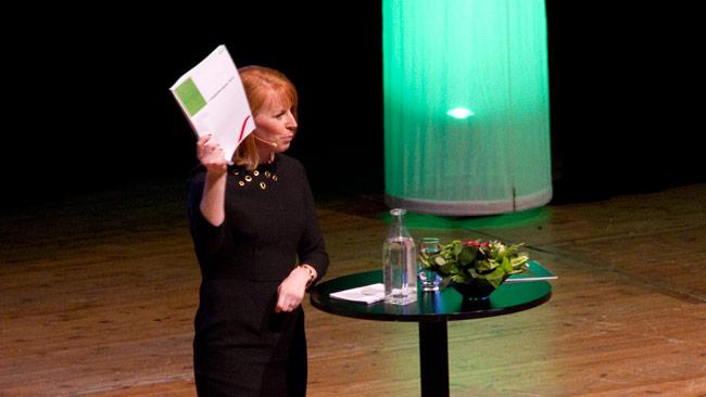 Annie Lööf talar på Centerpartiets kommundagar. Foto: Chang Frick / Nyheter Idag