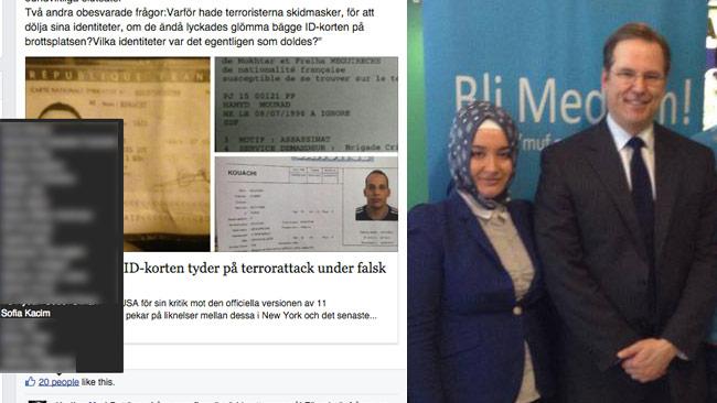 Till vänster skärmdump av Facebookinlägget. Till höger Büsra Kocatürk bredvid förre finansminister Anders Borg. Bilden är ett montage. Foto: Faksimil Facebook