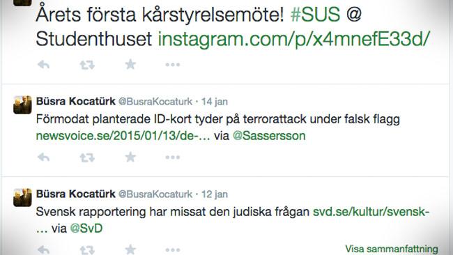 Även på twitter sprider Büsra Kocatürk konspirationsartikeln om terrordådet i Frankrike. Foto: Faksimil Twitter