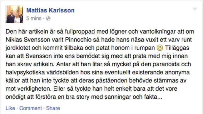 Mattias Karlsson rasar på Niklas Svensson. Foto: Faksimil Facebook.