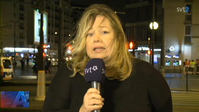 Lena Lutaud i direktsändning hos SVT Aktuellt. Foto: Faksimil svtplay