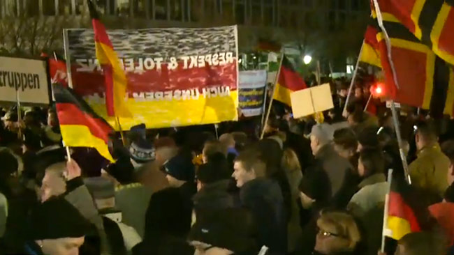 PEGIDA-demonstration i Tyskland. Foto: Faksimil Youtube / Ruptly