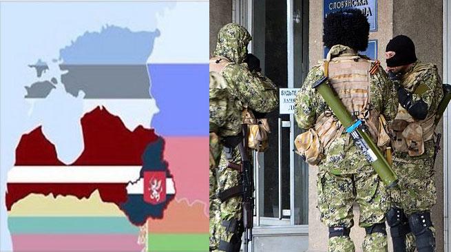 Folkrepubliken Lettgallen och gröna gubbar på Krim. Foto: Faksimil Facebook samt Wikipedia.