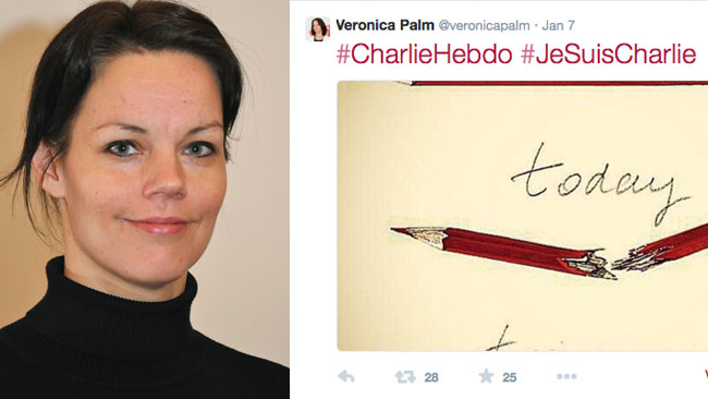 Veronica Palm on the left, her tweet on the right. Photo: Wikipedia / Twitter