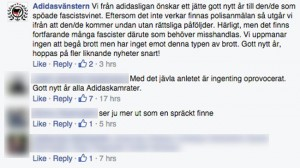 """Här kommenterar """"Adidasvänstern"""" misshandeln av William Hahne. Foto: Faksimil Facebook"""
