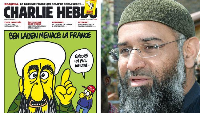 Förstasida från Charlie Hebdo (t.v) och Anjem Choudary (t.h). Foto: Charlie Hebdo / Wikimedia Commons