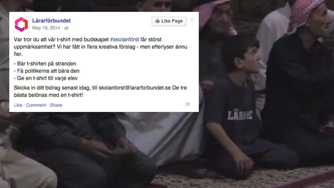 Lärarförbundet tar tacksamt emot förslag på hur deras T-shirtar kan få mer exponering.  Deras önskemål är uppfyllt, tack vare islamiska staten. Bilden är ett montage. Foto: Faksimil Facebook / Youtube