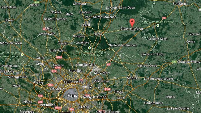 De två terrormisstänkta sägs ha lokaliserats till ett litet samhälle strax norr om Paris. Foto: Google Maps