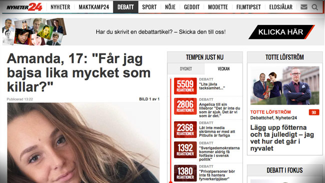 Såhär kan det se ut hos gammelmedia. Foto: Faksimil nyheter24.se