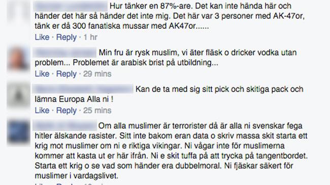 Det råder delade meningar på Facebook om terrorattentatet. Foto: Faksimil från Fria Tiders Facebooksida